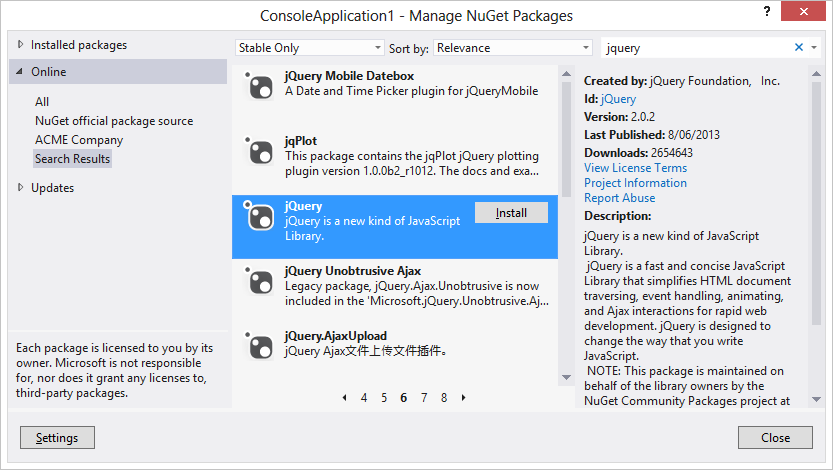 Visual Studio showing upstream packages