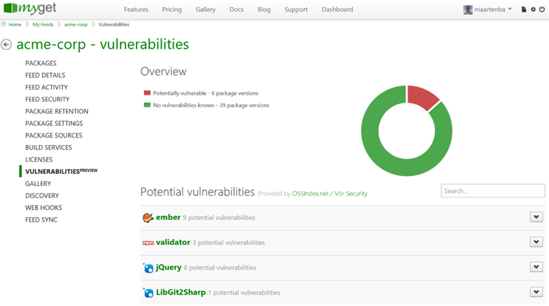 Check for potential package vulnerabilities on your MyGet feeds!