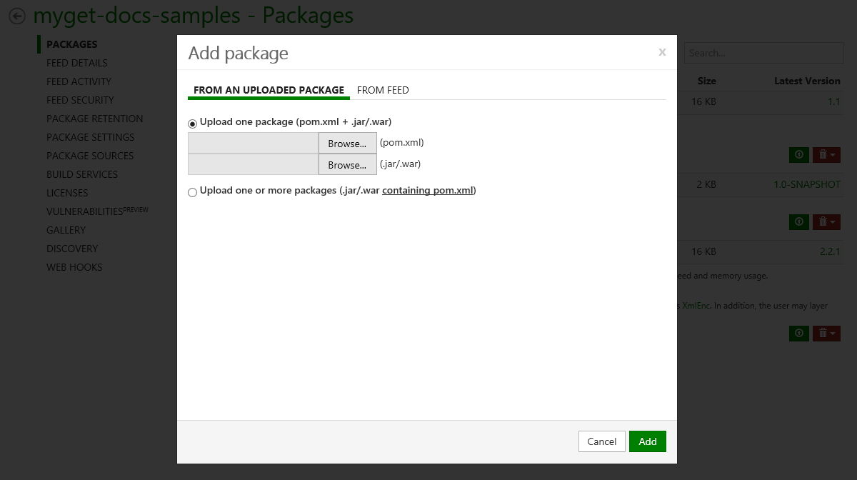 Upload package or add package from Maven Central